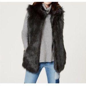 LOFT Black faux fur vest